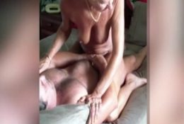 Old woman passionately cumming